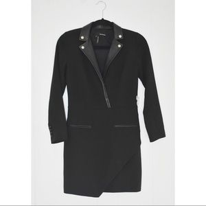 New The Kooples moto leather blazer wrap dress